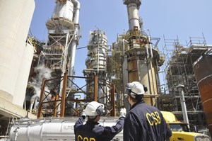 Inspectors at an oil refinery