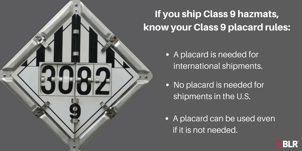 Class 9 Shipments To Placard Or Not Placard That Is The Question
